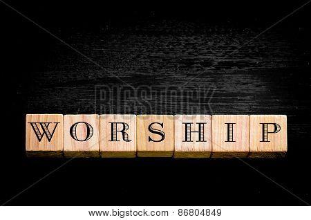 Word Worship Isolated On Black Background
