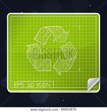 Recycle Symbol Blueprint Icon