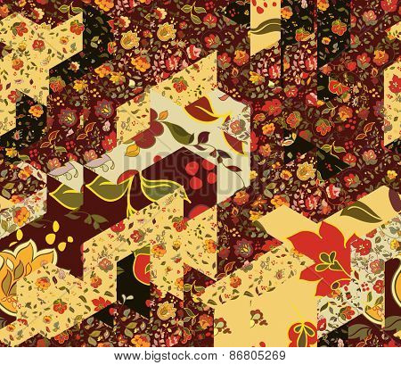 Patchwork pattern with flowers. Abstract creative seamless background. Vintage boho style