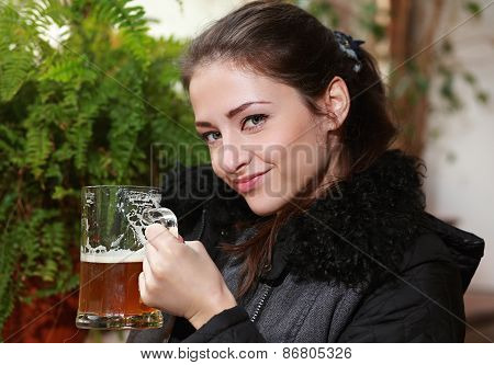 Happy Smiling Woman Drinking Lager Beer. Closeup Portrait