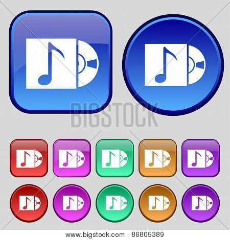 Cd Player Icon Sign. A Set Of Twelve Vintage Buttons For Your Design. Vector