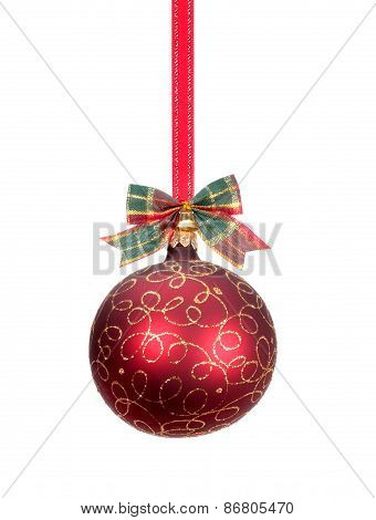 Red Christmas Ball With Gold Decoration