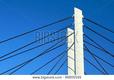 Pylons and steel cable-stayed bridge cables