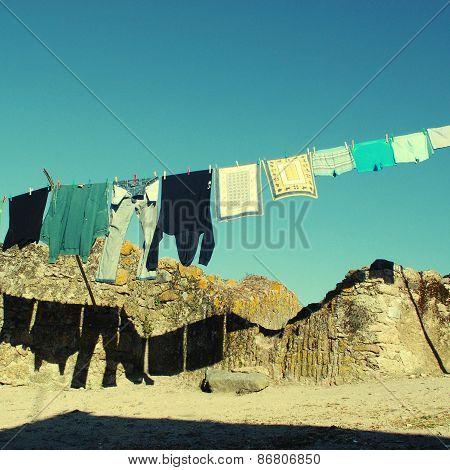 Drying Clothes In A Village