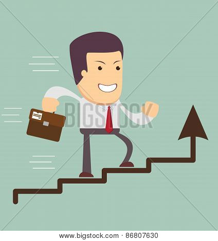 Businessman run in a Growth