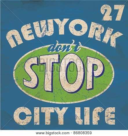 Newyork Stop Emblem Logo Graphic Design Athletic Sport Nyc Typography, T-shirt Graphics, Vectors