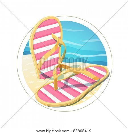Beach flip flops. Eps10 vector illustration. Isolated on white background