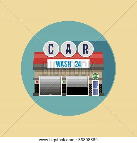 Car wash for cars. The Facade Of The Building. Flat Style Illustrations Or Icons.