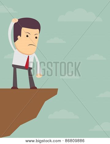 Businessman in front of a gap