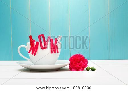 Mom Felt Letters With Clothespins On Coffee Cup With Carnation