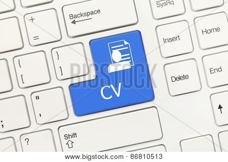 White Conceptual Keyboard - Cv (blue Key)
