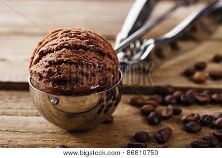 Chocolate coffee ice cream ball scoop spoon