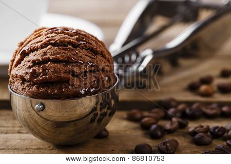 Chocolate coffee ice cream ball scoop spoon