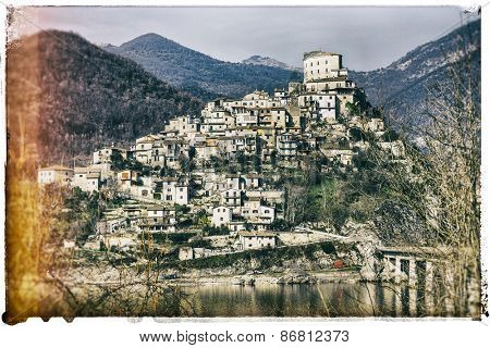 Castel di tora - medieval village in Italy, retro picture