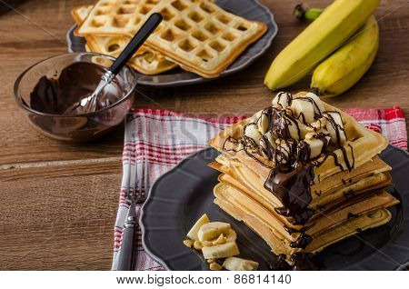 Waffles With Bananas, Nuts And Chocolate