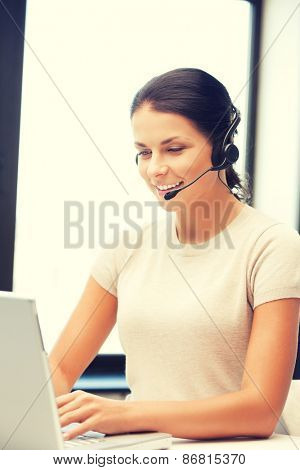 picture of helpline operator with laptop computer