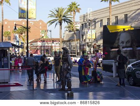 Street Performers On Hollywood Boulevard