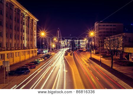 Evening Photo Of Cityscape With Long Exposure