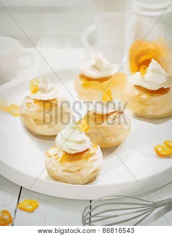 Kumquat Muffins On White Plate. Illustration With Blurred Background