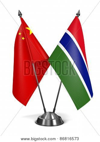 China and Gambia - Miniature Flags.
