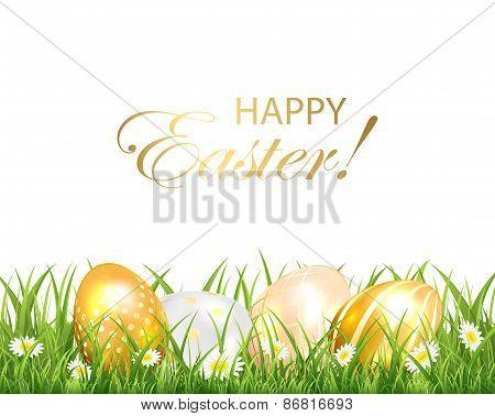 Golden Easter Eggs In The Green Grass