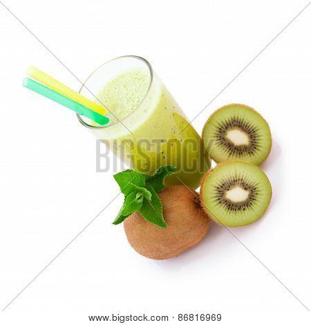 Tropical Fruit Kiwi, Glass Juice Isolated