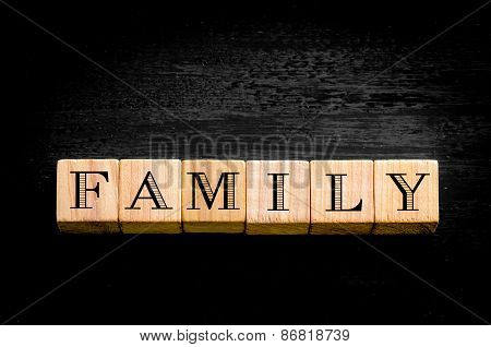 Word Familiy Isolated On Black Background
