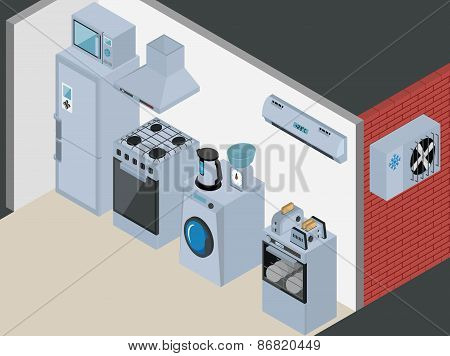 Isometric Kitchen Appliances. Major household appliance Icon Set.