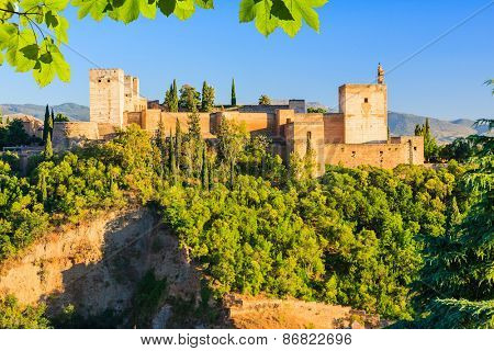 Alhambra palace at sunset in Granada, Spain