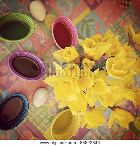 Instagram Of Daffodils And Easter Egg Dye