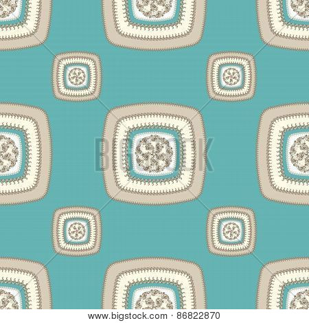 Abstract Seamless pattern with square  on beige blue