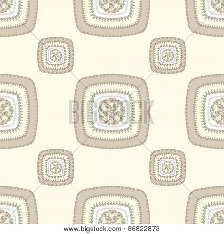 Abstract Seamless pattern with square  in beige