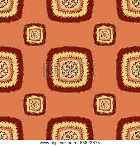 Abstract Seamless pattern with square  on red brown