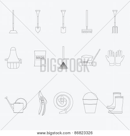 Gardening tools line icons set. Vector illustration of garden tools. Simple outlined icons. Linear s