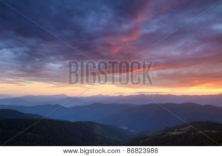 Beautiful sky. Dawn in the mountains. summer landscape