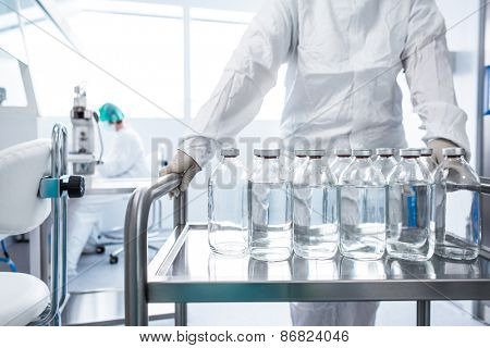 Flasks with liquids in a lab