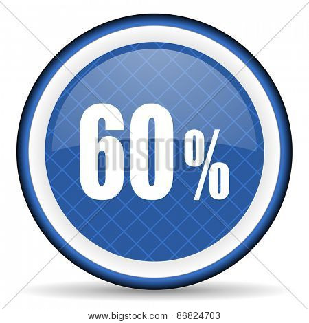 60 percent blue icon sale sign