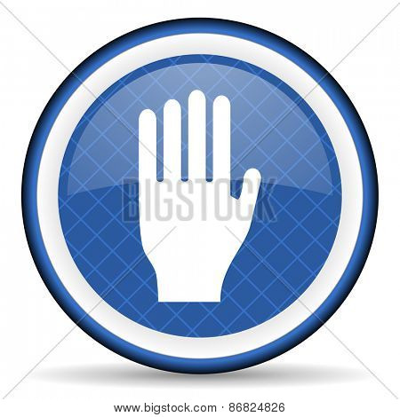stop blue icon hand sign