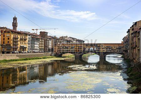 Ponte Vecchio Bridge In Florence In Summer