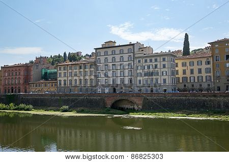 View From Ponte Vecchio Bridge In Florence In Italy