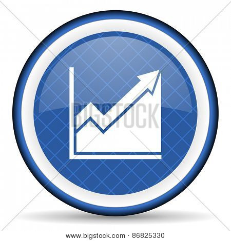 histogram blue icon stock sign