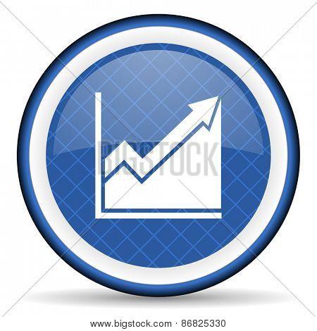 histogram blue icon stock sign