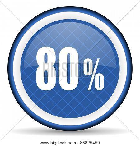 80 percent blue icon sale sign