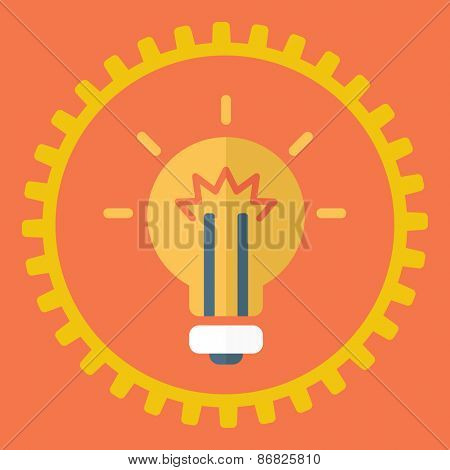 Gears symbol and Bulb light. Concept of motion and mechanics, connection and big ideas inspiration innovation, invention, effective thinking.  A contemporary style with pastel palette, red background