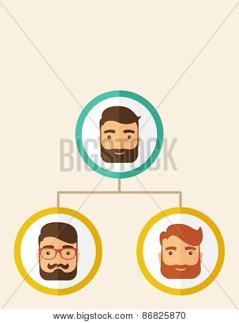 A company chart of three hipster Caucasian employees with beard ranking themselves from higher position down to the next position level. Leadership, teamwork concept. A contemporary style. Vector flat