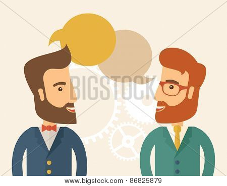 Two happy hipster Caucasian men with beard facing each other wearing jacket sharing and gathering ideas with bubble text on the top of their heads. Team building concept. A contemporary style