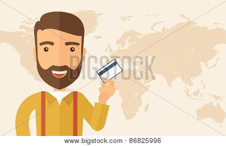 A happy hipster Caucasian businessman thankfully standing holding his a credit card. Fulfillment concept. A contemporary style. Vector flat design illustration isolated on white background.