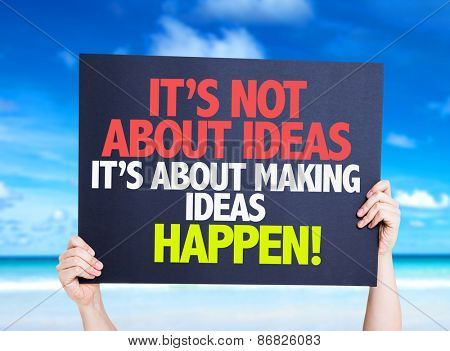 It's Not About Ideas Its About Making Ideas Happen card with beach background