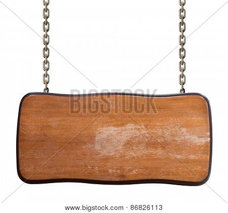 worn wood signboard on chain isolated on white