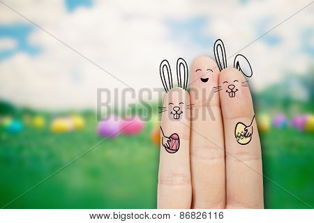 Conceptual Easter Finger Art. Person With A Two Bunnys. Stock Image